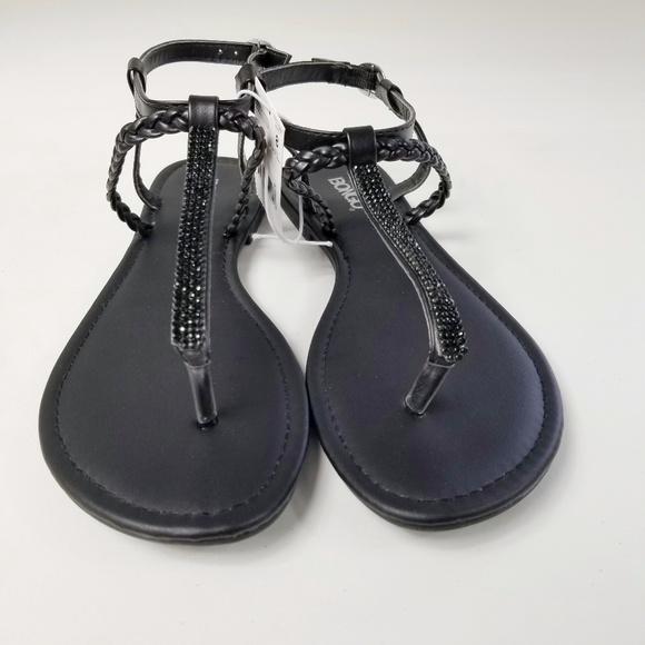d623b899848a Bongo Black Rhinestone T-Strap Strappy Sandals 8. NWT